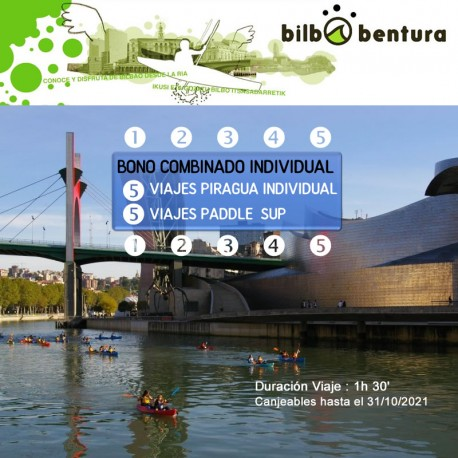 Bono Combinado Individual: 5 Viajes Piragua Individual + 5 Viajes Paddle Sup